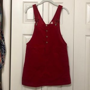 Girl's red corduroyed overalls